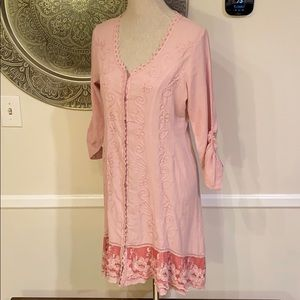 SOFT SURROUNDINGS Pink embroidered tunic - PXS
